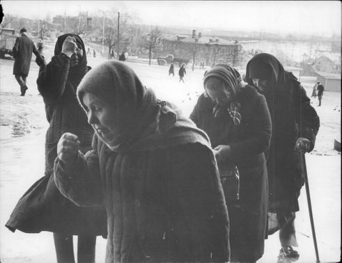 Four Russian women on their way to Zagorsk.