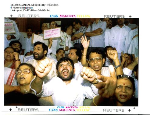 India's Opposition members of Parliament shout Anti-government.