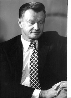 Zbigniew Kazimierz Brzezinski , in a portrait, head and shoulder shot.
