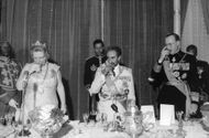 Juliana, Haile Selassie I and Prince Bernhard of Lippe-Biesterfeld toasting during an event.  - Jan 1969