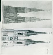 Uppsala Cathedral: the vast facade according to the liver entz proposal.