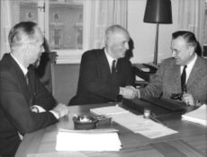 TCO's John Östlund, Minister of Civil Affairs Sigurd Lindholm and SACO Director Jan Carl Almquist After Negotiations on Salaries