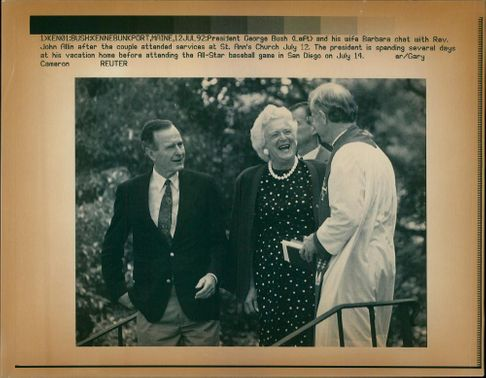 George Walker Bush with his wife and John Allin.