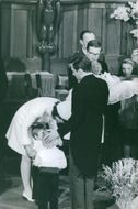Vintage photo of baptism of Princess Margriet and Pieter van Vollenhoven's son. Photo taken on Feb. 24, 1970.