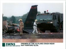 Aircraft crash:firemen at the u2 plane raf fairford glos.