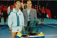 Steffi Graf th with her trophy as she won by defeating Anke Huber in the Corel WTA Tour Championships