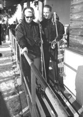 Princess Irene and Carlos Hugo about to ski, February 1964.