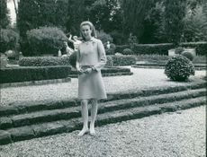 Princess Maria Gabriella in garden.