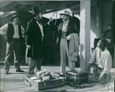 Victor Sjostrom and Edvin Adolphson in a scene from the film John Ericsson – segraren vid Hampton Roads (John Ericsson - winner of Hampton Roads), 1937.