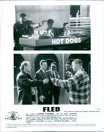 Stephen Baldwin and Laurence Fishburne in a scene(top) and Will Patton,David Dukes,Robert Hooks,Laurence Fishburne and Stephen Baldwin in another scene(Bottom:left to right) of the movie : Fled