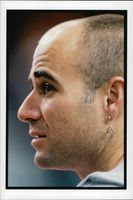 Portrait of the tennis player Andre Agassi.