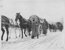 Men walking with procession of horse cart.