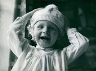 A portrait of laughing child