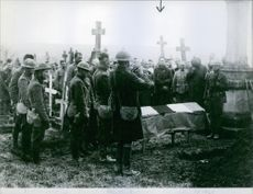 People praying tribute on the death of General MacArthur, 1912.