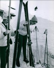 Princess Birgitta of Sweden getting ready for skiing, 1960.