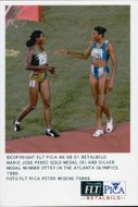 Gold Medalist Marie Jose Perec and Silver Medalist Ottey during the Olympic Games in Atlanta 1996