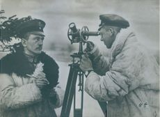 Surveying German soldiers measure the fields, World War I.
