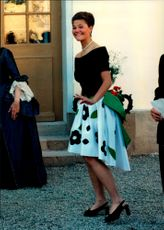 The royal dinner at Drottningholm Castle. Princess Victoria was wearing a floral dress.