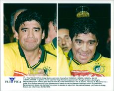 The Argentine football star Diego Maradona at the carnival in Rio de Janeiro