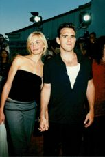 """Matt Dillon along with Cameron Diaz at the film premiere of """"There's Something about Mary""""."""