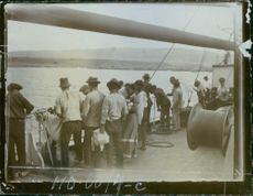 Vintage photo of people aboard a ship during the World War I in 1915.