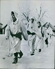 Russian soldiers marching on snow. 1942
