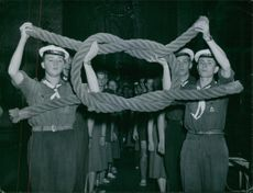 """Scouts doing a demonstration.""""Scouting holiday""""1951"""