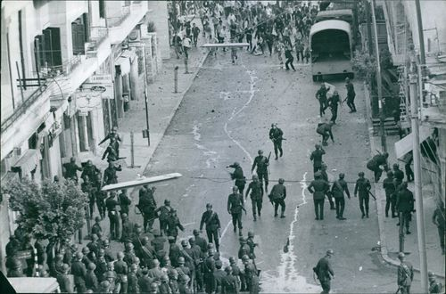 Aerial view of soldiers in the street in Lebanon, 1969.