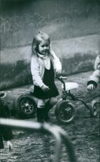 Princess Alexia of Greece and Denmark playing at the park. 1970.