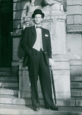 Mr. Sweden in New Look, striking a pose, 1949