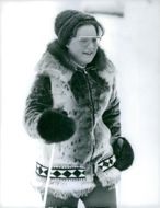 Princess Margriet of the Netherlands skiing on the snow.