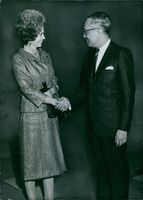 Queen Frederika Of Greece with  the third Secretary-General of the United Nations U Thant. 1964
