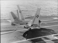 With its wings raised for below -deck stowing, this S-3A Viking resembles the shape of a butterfly