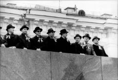 Soviet politicians monitor the first May demonstration on the Red Square.