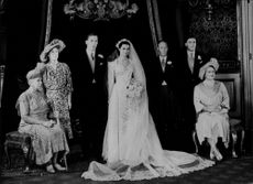 The newly married couple Earlen by Harewood and Miss Marion Stein at the wedding reception on St. James's Palace.
