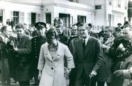 Princess Margriet of the Netherlands and Pieter van Vollenhoven, surrounded with press in 1965.