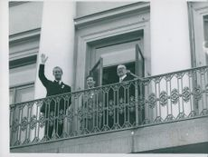 Prince Philip with Finland's President Paasikivi on the balcony of the Presidential Palace