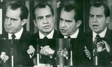 US President Richard Nixon's facial expressions and hand gestures during his first press conference at the White House