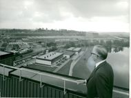 CEO Gösta Nilsson looks over the factory area from Scania-Vabis office building