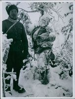 A Russian soldier found a lifeless frozen soldier. 1942
