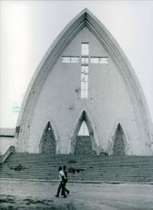 The facade of the Roman Catholic Cathedral in Ndjamena, Chad, 1983.