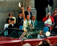Crown Princess Victoria goes by car on her graduation day with King Carl XVI Gustaf, Queen Silvia, Prince Carl Philip and Princess Madeleine