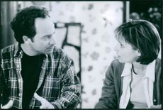 """Kevin Pollak and Grace Phillips in the movie """" Truth or Consequence"""" 1997"""