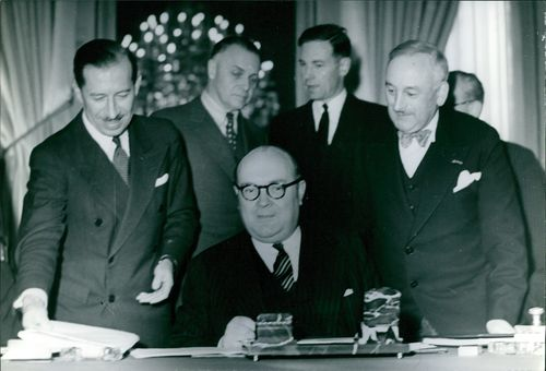Paul Henri Spaak with his staff and colleagues.  - Aug 1972