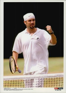 American tennis player Andre Agassi after victory against Jacob Eltingh in Wmbledon in 1995
