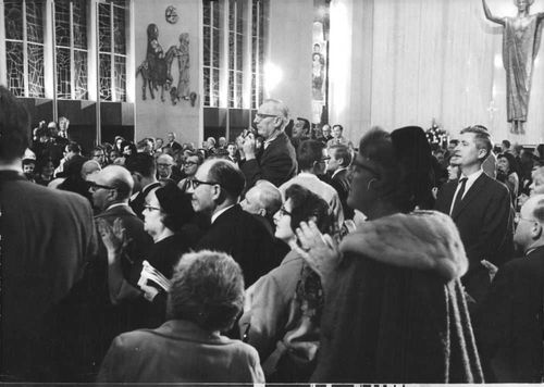 People gathered to see Pope Paul VI.
