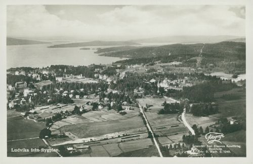 Ludvika from aircraft - postcard