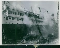 Smoke coming out from ship.