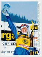 Magdalena Forsberg celebrates the win of the total world cup.