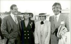 Roger Moore and his wife Luisa with Liza Minelli and George Hamilton at Epsom